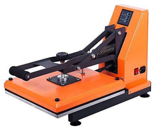 RICOO T338-GS Transferpresse Textilpresse Textildruckpresse Klappbar Thermopresse Transferdruck Bügelpresse Textil T-Shirtpresse Sublimationspresse für Flexfolie und Flockfolie/Orange