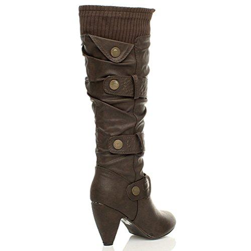 Damen Mittel Hohe Kubanischer Absatz Strickkragen Riemen Geraffte Reißverschluss Wade Kniehohe Stiefel Größe Braun