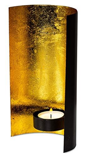 levandeo Teelichthalter Schwarz Gold 11x19cm Windlicht Metall Kerzenhalter Wanddeko Tischdeko Deko Dekoration - Kerze-halter-wand-dekoration