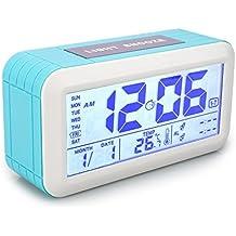 Despertador Digital Alarma Reloj Calendario Digital Precisión Termómetro VADIV CL02 con Botón Táctil y Pantalla LCD Gráfico de Fecha y Temperatura 2 Alarma de Hora Séparée los Jóvenes Niños Adolescentes