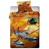 Disney - Juego de funda de edredón y de almohada para cama individual (100% algodón), diseño de Dusty de Aviones: Equipo de Rescate