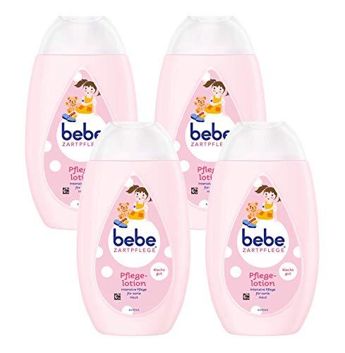 Bebe Zartpflege -/ Körperlotion für Kinder , Sanfte Körperpflege mit angenehmen Duft, 4er Pack (4 x 300 ml) -