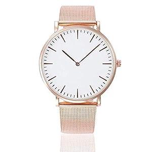 Mode Armbanduhr, ICHQ Unisex Erwachsene Digital Analog Quarz Uhr mit Edelstahl Armband Wasserdicht Mesh Ultradünne