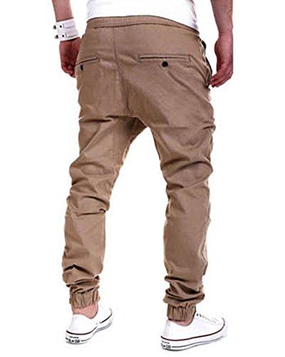 Uomo Pantaloni Chino Miscela di Cotone Jeans Pantaloni Casual Pantaloni Cachi