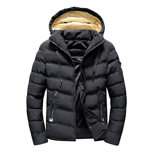 Luckycat Herren Herbst Winter Pure Color Pocket Öffnen Sie einen Hut Zipper Hooded Jacket Top Coat Winterjacke Steppjacke Daunenjacke Parka Mäntel Jacken
