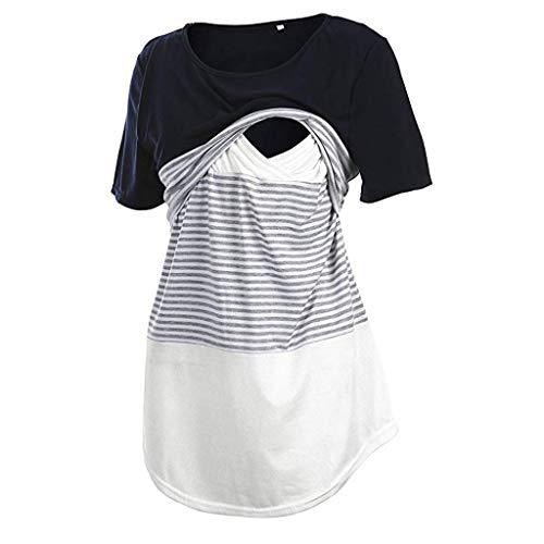 Topgrowth Donna Maglietta T Shirt Allattamento Incinta Maglietta Maniche Corte Camicetta A Doppio Strato Donna Camicia Righe T Shirt