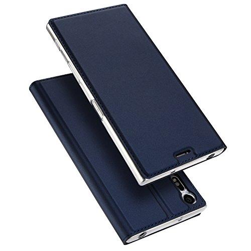 Sony Xperia XZ 2017 Hülle,DUX DUCIS Handyhülle [Standfunktion] [1 Kartenfach] [Magnetverschluss] [Blau] Ultra Dünn Holster,Slim Flip Case Cover,Ledertasche Schutzhülle für Sony Xperia XZ 2017 (Skin Pro Series)