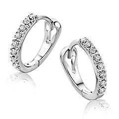 Idea Regalo - Orovi Orecchini Donna Cerchio in Oro Bianco con Diamanti Taglio Brillante Ct 0.10 Oro 9 Kt / 375