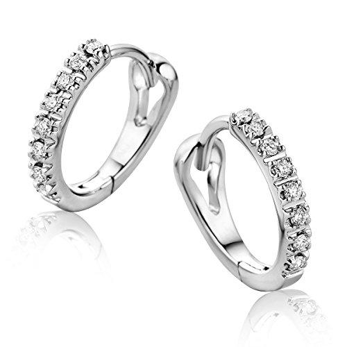 Orovi Orecchini Donna Cerchio in Oro Bianco con Diamanti Taglio Brillante Ct 0.10 Oro 9 Kt / 375