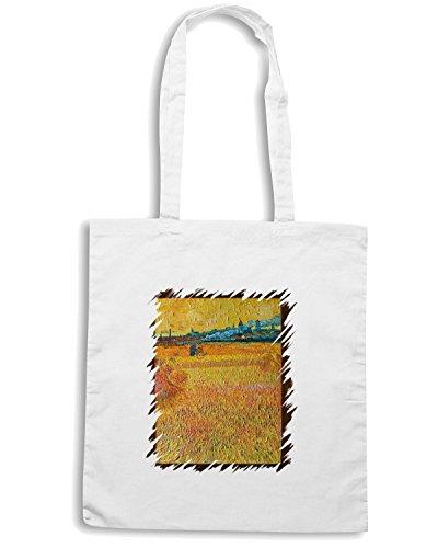 T-Shirtshock - Borsa Shopping TDA0107 van gogh69 campo di grano con veduta di arles Bianco