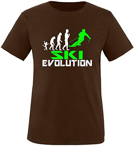 EZYshirt® Ski Evolution Herren Rundhals T-Shirt Braun/Weiss/Neongr