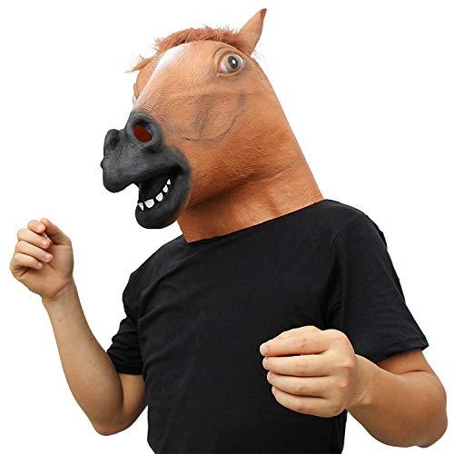 MU Masquerade Deluxe Neuheit Halloween Kostüm Party Latex Tier Black Cat Head Mask,Braunes (Braunes Pferd Kind Kostüm)
