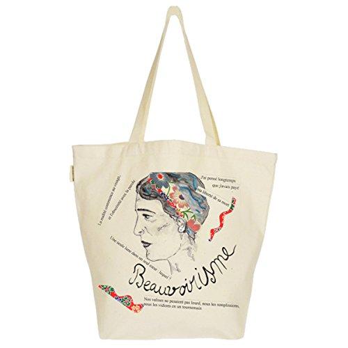 Grand Sac Cabas Fourre-tout Imprimé Toile Bio 37x45x20cm Tote Bag XL - Simone de Beauvoir