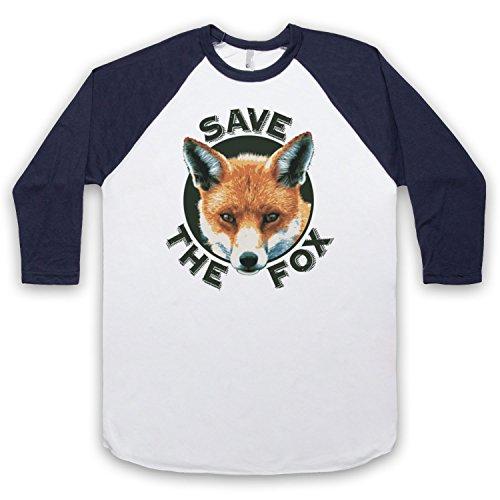 Save The Fox Protest 3/4 Hulse Retro Baseball T-Shirt Weis & Ultramarinblau