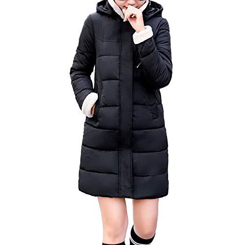 OverDose Damen Frauen Winter Warme Mantel Mit Kapuze Dicke Windjacke Mantel Anzug Schlank Weiches Licht Jacke Langen Mantel(X-Schwarz,EU-42/CN-XXL)