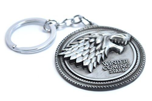 Portachiavi il trono di spade winter is coming, famiglia stark, con il sigillo del lupo di jon snow, grey