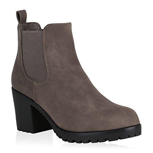 Stiefelparadies - Botines Chelsea Mujer , color marrón, talla 36