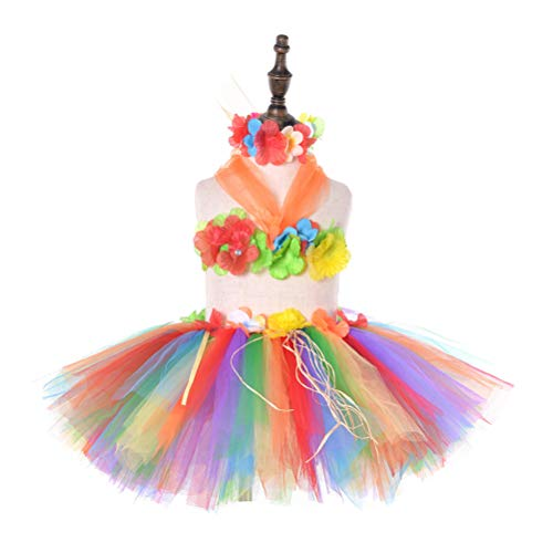 Amosfun Kinder Mädchen Hawaiian Hula Luau Tutu Gras Rock Blume Leis Halskette Set (Regenbogen, freie Größe) (Regenbogen Hell Girl Kostüm)