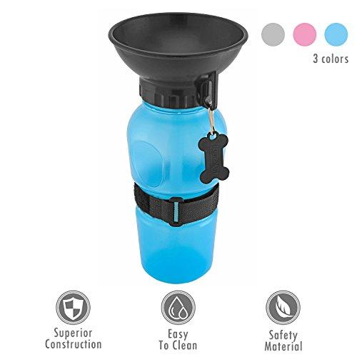 UBEST Trinkflasche für Hunde, Kunststoff Wassernapf, ca. 560ml Trinknapf, Blau