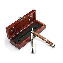 """A.P. Donovan - Exzellentes 7/8"""" Rasiermesser mit Goldätzung + Holzgriff (Klinge aus gehärtetem, nicht rostfreien Stahl), Heftschale - Mahagoni Razor"""