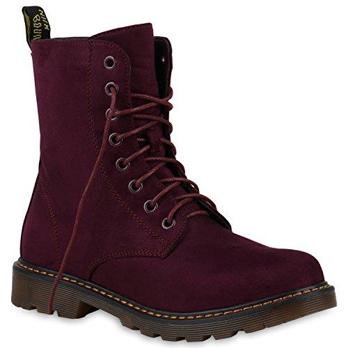 Stiefelparadies Bequeme Damen Stiefeletten Chelsea Boots Stiefel Schuhe 146991 Dunkelpink Schnürer 37 Flandell