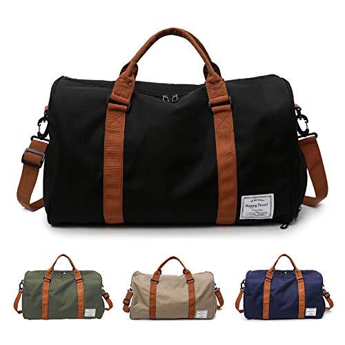 FEDUAN Handgepäck mit Schuhfach Trainingstasche Fitnesstasche Gym-Tasche Sporttasche hochwertige Reisetasche Schultergurt Herren und Damen schwarz, Freizeit Training und Reise