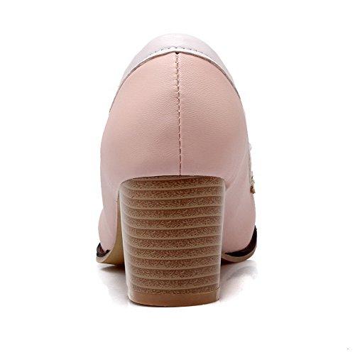VogueZone009 Damen Ziehen Auf Rund Zehe Mittler Absatz Pu Leder Pumps Schuhe Pink