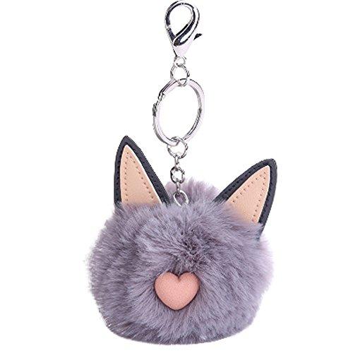 MOIKA Porte-clés porte-clés accessoire Mignon Fluffy Cat Oreille Barbe Pompon Pendentif Porte-clés De Voiture Porte-clés Sac Ornement Valentines Cadeau D'anniversaire(Gris)