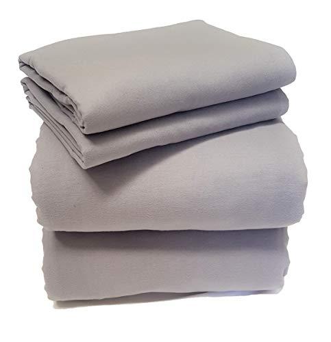 Friends at Home Bettwäsche-Set für King-Size-Bett, 100% Baumwolle, weich, hypoallergen, bequem, flauschig, Hotel-Collection, schweres Flanellgewebe, Grau