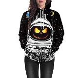 Beginfu Liebhaber Hoodies Halloween Kürbis Grimasse 5D Print Party Hoodie Top Sweatshirt Pullover Scary Hoodie Langarm mit Kapuze Top Bluse Hoodie Sweatshirt mit Pullover Kapuzen