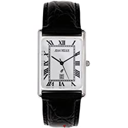 Gents Sterling Silver Wristwatch Roman Numerals Black Leather