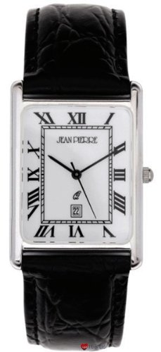 Sterling Silver Gents Wristwatch Rectangle Roman Numerals - Black Leather Strap