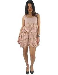 original Yumi Vestido De Tirantes YN-004 rosa Volantes Bordado NUEVO