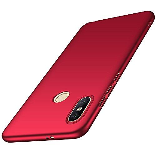 Funda Xiaomi Mi Mix 2s, LAGUI Carcasa Dura de Ultrafino, Caja del Teléfono de Ligera y Simple de Un Único Color, Anti-Arañazos Anti-huella Cubierta Protectora, rojo