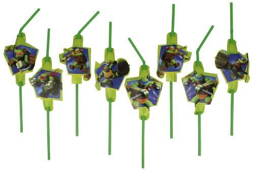 8 Trinkhalme * TEENAGE MUTANT NINJA TURTLES * mit Sticker von Riethmüller // Kindergeburtstag Kinder Geburtstag Party Strohhalme Straws