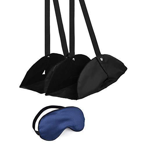 SlowTon Fuß Hängematte Fußraste und Schlafmaske Reisen für Flugzeug, Glatte Seide Schlaf AugenmaskeEinstellbar Tragbar Bonus Ohrstöpsel -