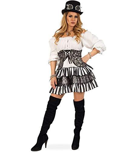 KarnevalsTeufel Damenkostüm - Set Gwendolyn, 5-teilig Kleid, Zylinder, Brille, Kette und Armband | Größe 34 - 40 | Renaissance, Barock, Piratin, Steampunk (40) (Renaissance Dieb Kostüm)