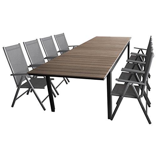 Multistore 2002 9tlg. Sitzgarnitur Sitzgruppe Gartengarnitur Terrassenmöbel Gartenmöbel Set Aluminium Polywood Ausziehtisch Gartentisch 280/220x95cm + 8X Hochlehner 2×2