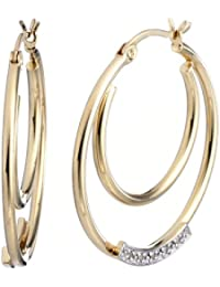 Yellow Gold Plated Sterling Silver Diamond Hoop Earrings (1/20 CT)