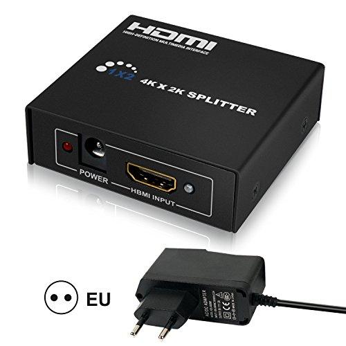 HDMI Splitter 1 In 2 Out Unterstützung HDMI Verteiler 1080p Full HD 4K x 2K 3D Switcher Splitter 1 auf 2 Multi Screen Automatisch
