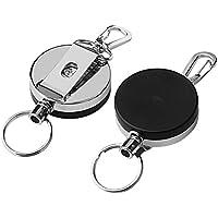 Portachiavi retrattile Borte 2pcs, anello retrattile in acciaio legato metallico 1.57In Portachiavi per impieghi gravosi in argento