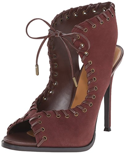 Nove in pelle occidentale Hotstuff tacco del sandalo Dark Brown/Dark Brown