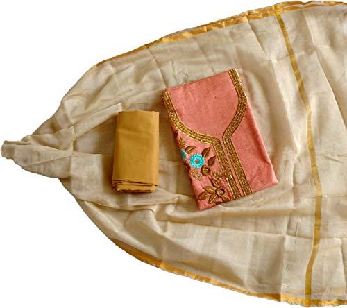 Amisvi Women's Salwar Suit Dress Material Cotton Embroidered Boutique Designer (Orange, Free Size)