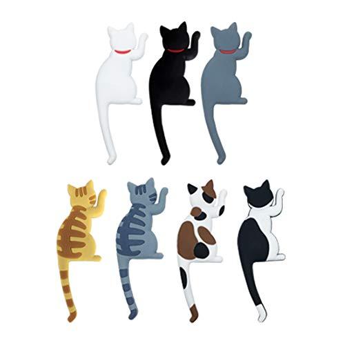 Ymwave 7 PCS Cute Cartoon Katze Kühlschrank Magnet Aufkleber Magnet Haken magnethaken Set Katzen Magnete für Zuhause