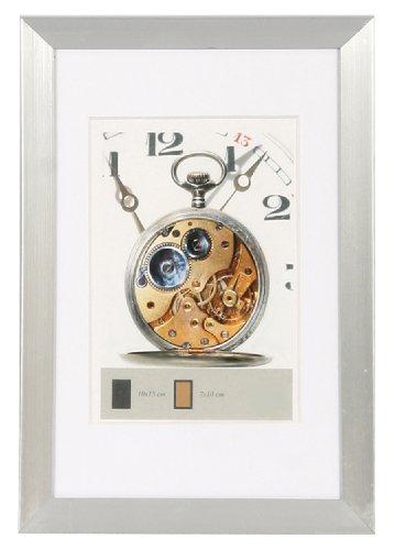 Timeless Kunststoff Bilderrahmen 10x15 bis 40x50 mit Passepartout Foto Rahmen: Farbe: Silber | Format: 30x45