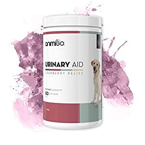 Animigo Urinary Aid for Dogs - Urinary Health Supplement For Dogs - Cranberry Complex - With Natural Cranberry, Echinacea & Brewer's Yeast - Bacon and Chicken Liver Flavour - 60 Soft Chews