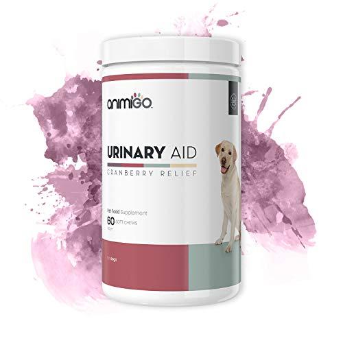 Animigo Urinary Aid für Hunde | Harnwegsunterstützung mit Echinacea und Bierhefe | Hygiene & Gesundheit | Mit Cranberry Komplex | 60 Weiche Kausnacks -