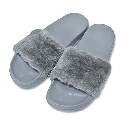 COFACE Pantofole da Donna morbide Sandali Piatti in Eva con Morbida Pelliccia Sintetica,Grey-36