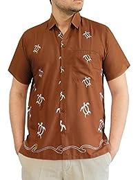 mens chemise hawaïen aloha tortue fantaisie décontractée col brodé manches courtes beachwear Luau xs-5xl