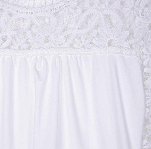 Minetome Mode Féminine À Manches Longues En Dentelle Crochet Hauts Chemise Élégant Creux O-Cou Blouse Blanc